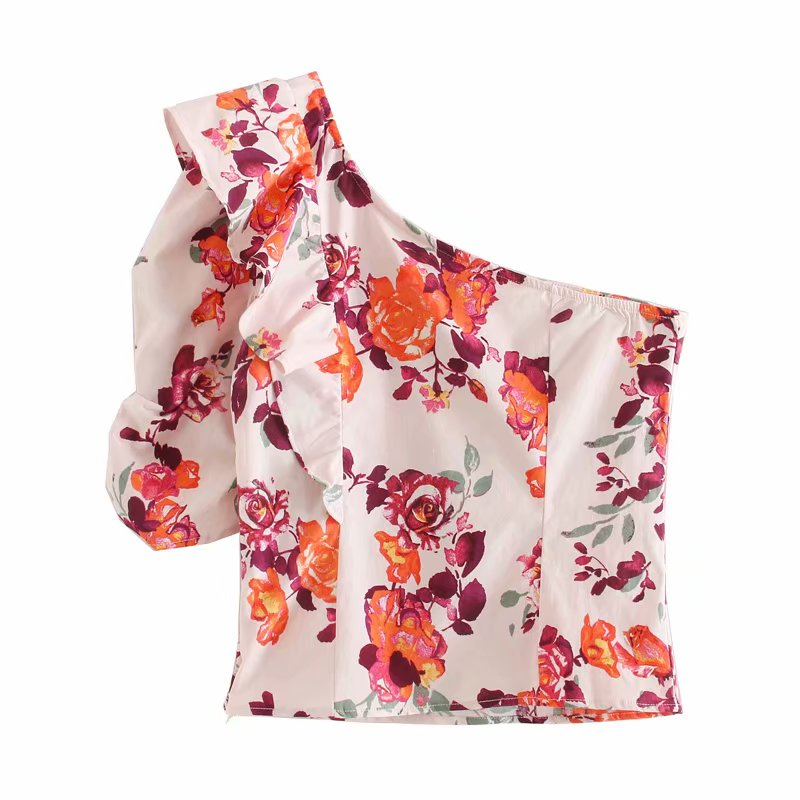 New Women One Shoulder Pleated Ruffles Asymmetrical Shirt Print Slim Blouses Women Zipper Roupas Femininas Chemise Shirts LS6584