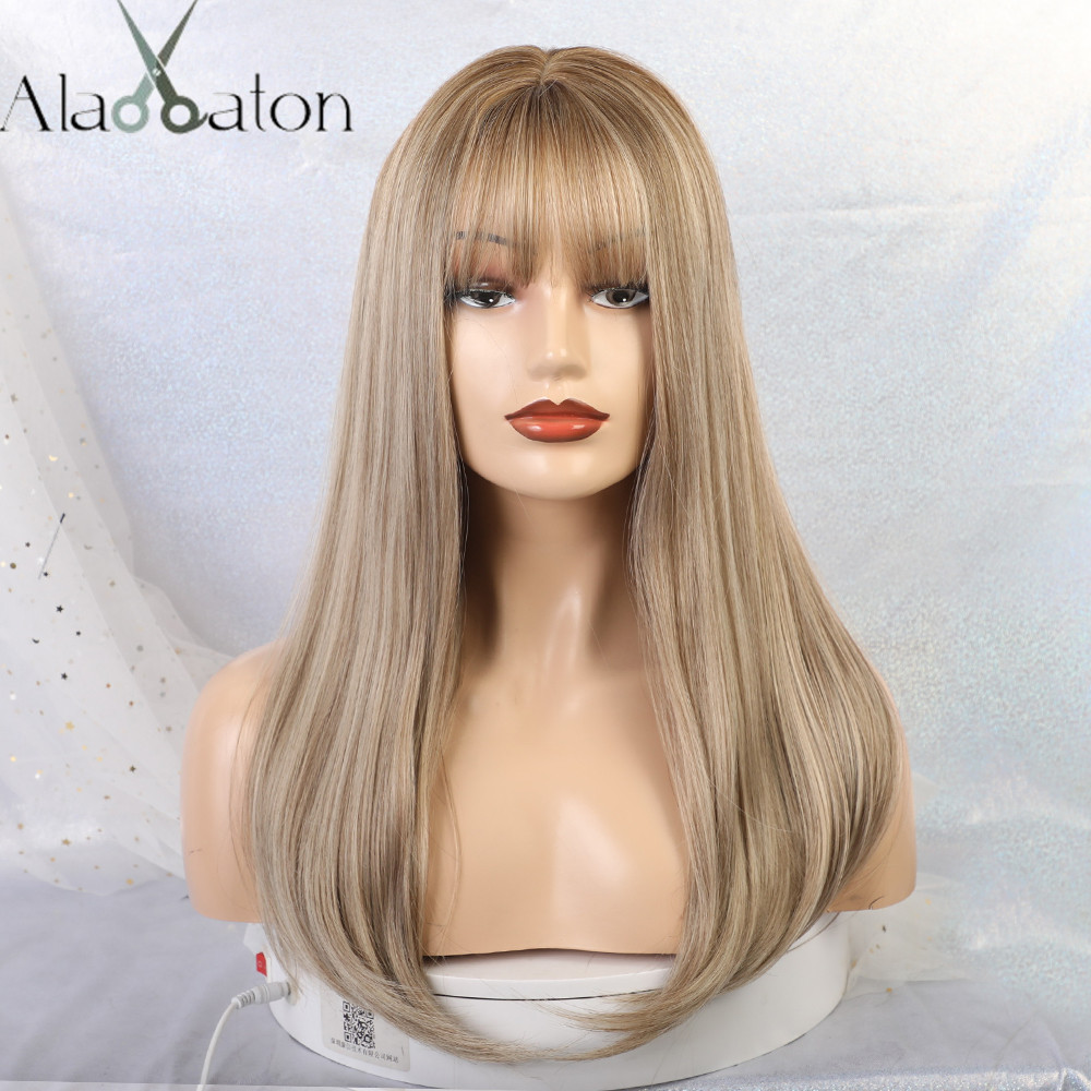 ALAN EATON Long Ombre Blonde Black Brown Hair Wigs For Women Synthetic Hair Heat Resistant With Flat Bangs Straight False Hair