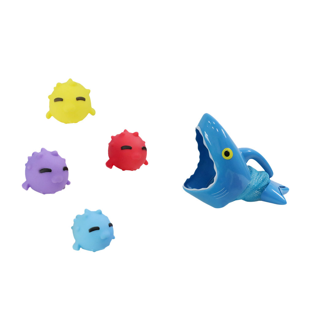 Cartoon Stereo Shark Fishing Animals Bath Toy Pinchable Will Can Make A Sound Bathroom Children's Summer Play Water Toys #C