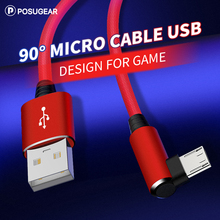 Posugear Micro USB Cable Fast Charger Cord 90 Degree Elbow Nylon Braided Data For Xiaomi Android Phone