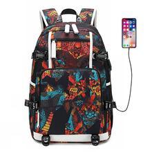 Teenagers Bags Men Backpack USB Port Rucksack Bag Printing Oxford School Bags For Teenage Girl Travel Laptop Shoulder Bag Women