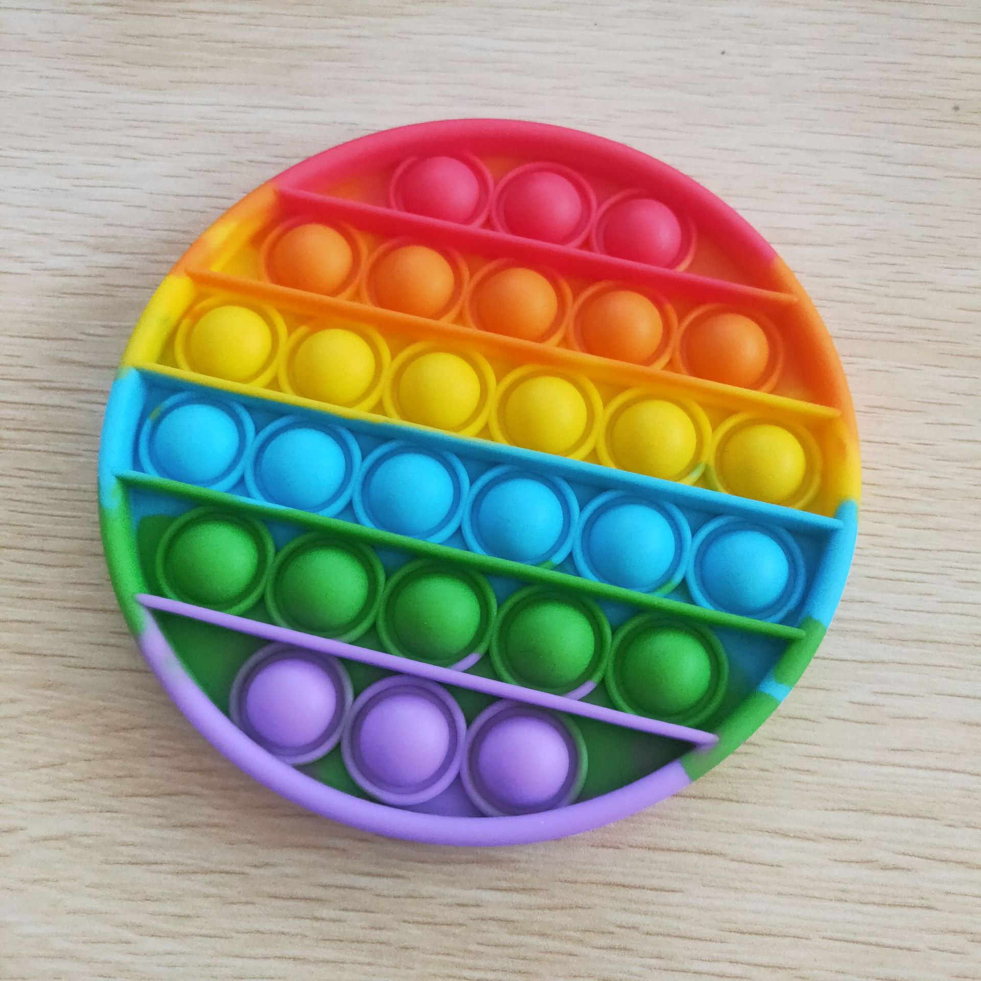 Sensory Toy Playing-Board Bubble Fidget Square Stress-Reliever Rainbow-Color Round Push-Pop img2