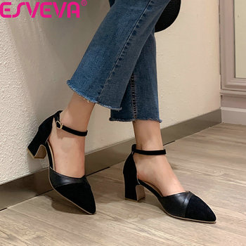 ESVEVA 2020 Pointed Toe Square High Heel Fashion Ladies Shoes Patchwork Flock PU Leather Buckle Hollow Women Pumps Big Size34-43