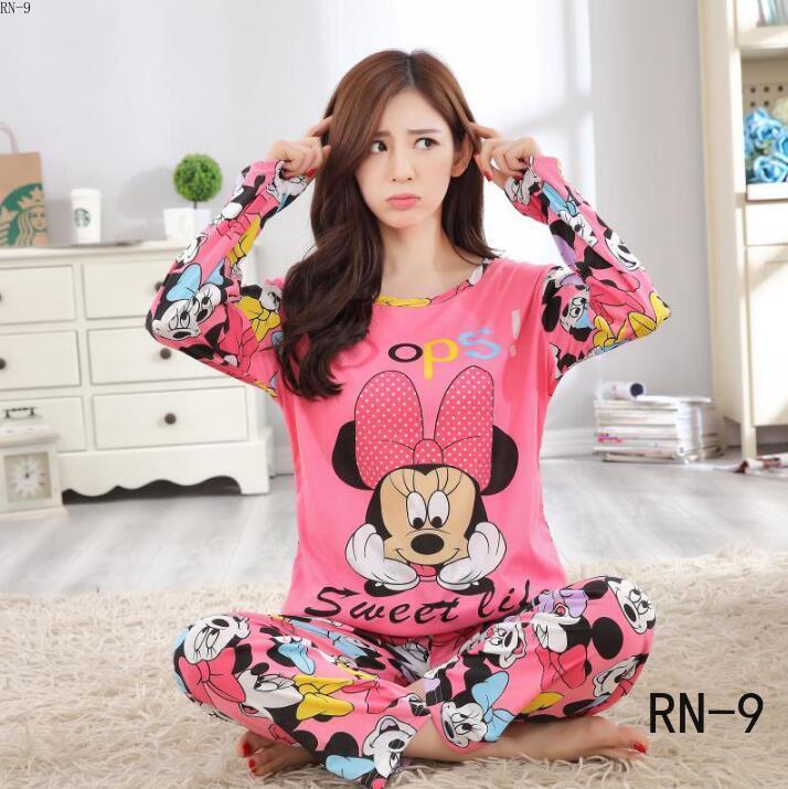 2020women Pajamas Sets Autumn Long Sleeve Thin Print Cute Sleepwear Big Girl Pijamas Mujer Leisure Student Pyjamas Set Wholesale