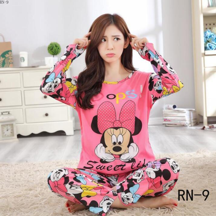 2020women   Pajamas     Sets   Autumn Long Sleeve Thin Print Cute Sleepwear Big Girl Pijamas Mujer Leisure Student Pyjamas   Set   Wholesale
