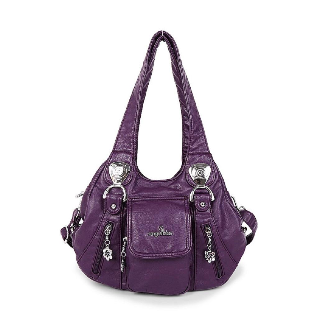 "Angelkiss Fashion Women Bags PU Leather Square Bag 13""x9""Top-handle Handbag Female Satchel Ladies Shoulder Bags"