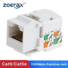 Zoerax cat6 rj45 keystone jack módulo conector rede acoplador ethernet parede jack cat6/cat5 keystone módulo adaptador