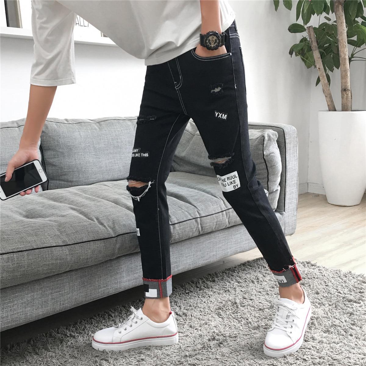 Autumn & Winter Men Korean-style Trend Capri Ripped Pants Jeans Slim Fit Pants Teenager Micro Elastic Casual Pants