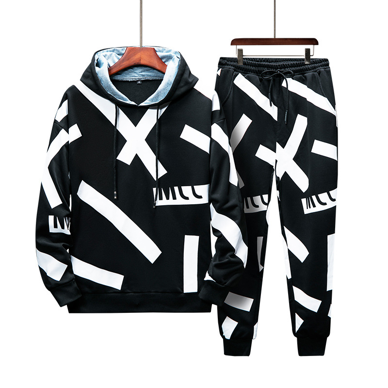 Men Tracksuit Pullover Hoodies Sweatshirt+Pant Sporting Suit Two Piece Set Male Casual Hooded Jacket Hip Hop Sweat Suits For Men
