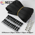 Meetee 10/20M Nylon 3# Coil Zipper with Slider & Stopper for Quilt Bags Tent Invisible Clothing Zip Sewing Crafts Accessories