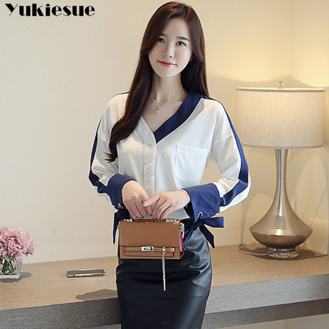 womens tops and blouses solid white chiffon blouse office shirt blusas mujer de moda 2020 long sleeve women shirts clothes 5