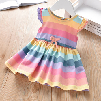 Girls Princess Clothing Kids rainbow Baby Dresses Cotton Party Girl Dress Korean Children Clothes kids dresses 2 3 4 5 6 7 Years 2017 baby girl dress children kids dresses for girls 3 4 5 6 7 8 year birthday outfits dresses girls evening party formal wear