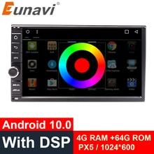 Eunavi Universal 2 din 7 Android 10 Car Radio Stereo multimedia Player 2din GPS Navigation 4G WIFI USB TDA7851 touch screen BT