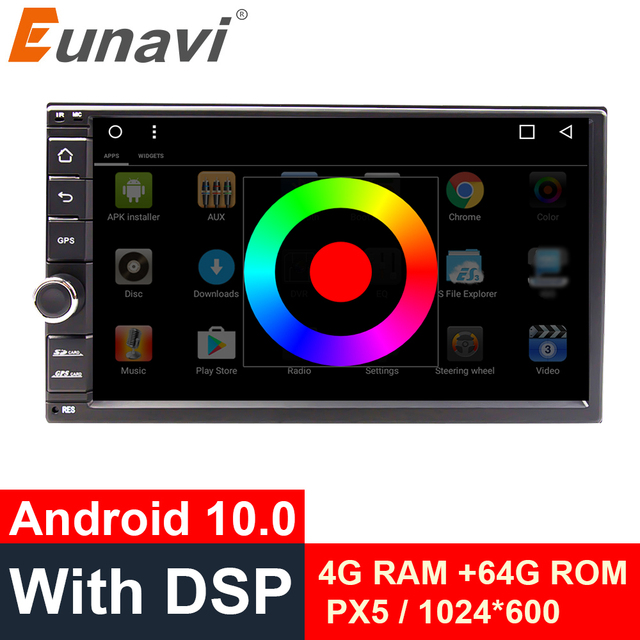 Eunavi Universal 2 din 7 Android 10 Car Radio Stereo multimedia Player 2din GPS Navigation 4G WIFI USB TDA7851 touch screen BT