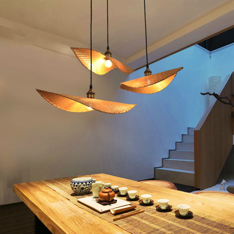 Bamboo Knitting Pendant Lamp New Chinese Restaurant Teahouse Bamboo Hanging Lighting Southeast Asian Home Decor E27 Fixture