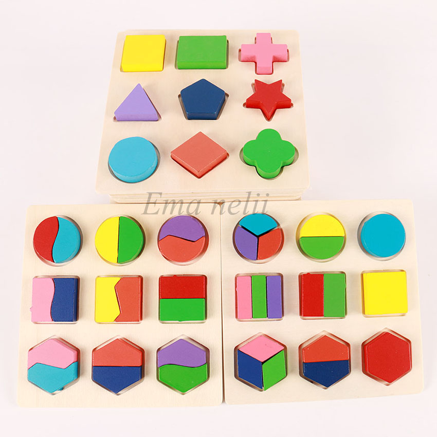 Sale Geometric Shape And Color Matching Toys Wooden 3D Puzzles Baby Montessori Early Educational Learning Toy For Children
