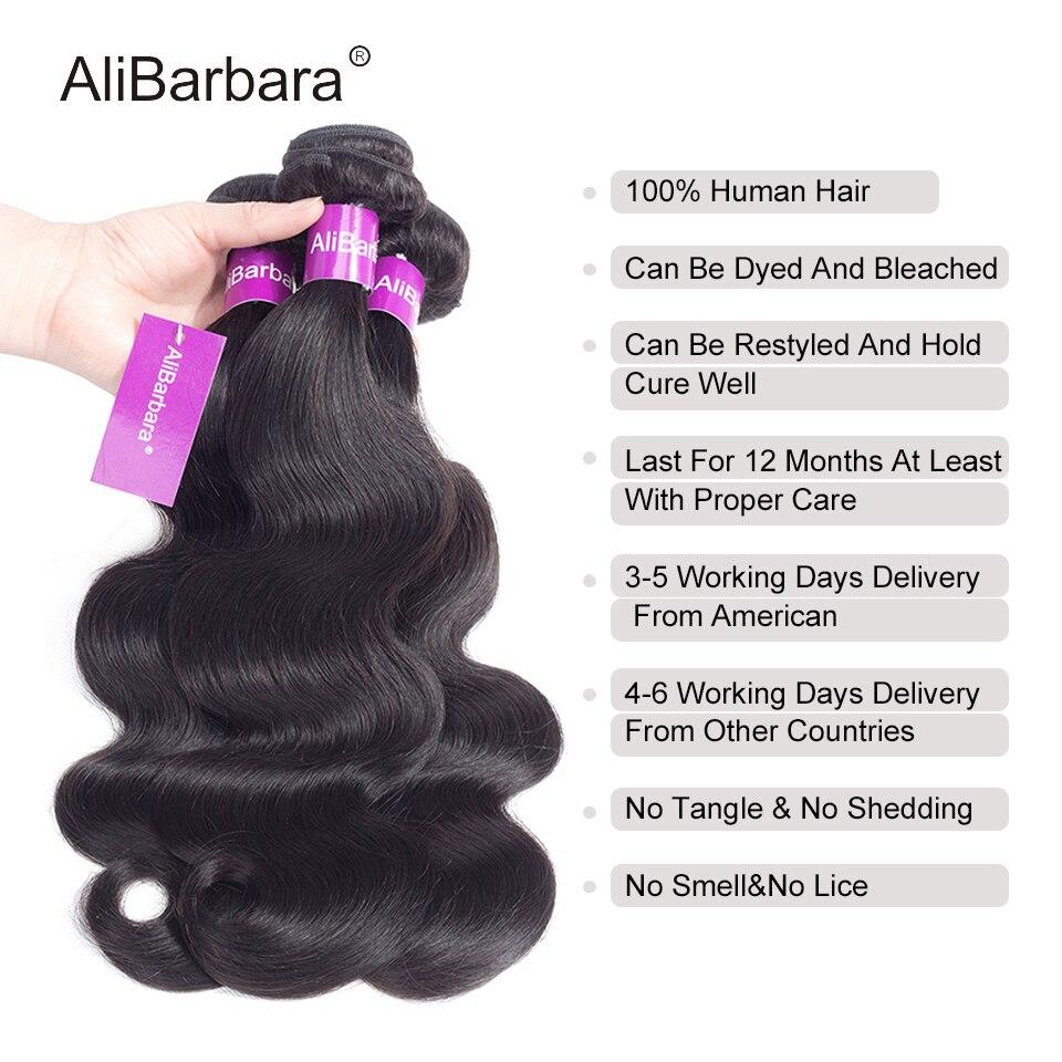 AliBarbara Peruvian Body Wave Hair Bundles 100% Human Hair weaves Extension Natural Color 8-28inch Non remy Hair weaving Bundles