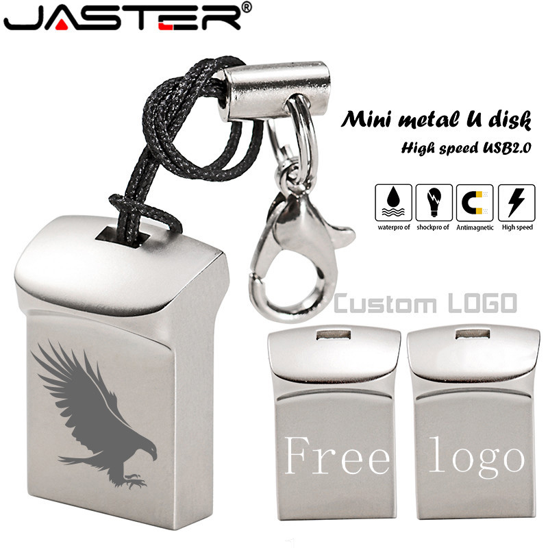 JASTER Mini Metal USB Flash Drive 4GB 8GB 16GB 32GB 64GB Personalise Pen Drive USB Memory Stick U Disk Gift Custom Logo