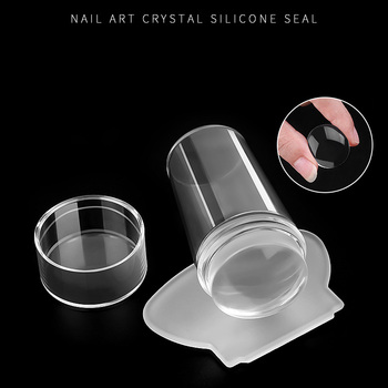 2pcs/set Nail Art Templates Clear Jelly Silicone Stamper Scraper Set With Cap Stamping Transfer Plate Nail Art Tool TSLM2 недорого