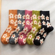 Cartoon Socks Floral Happy-Calcetas Calcetines-De-La Woman Kawaii Meia Skarpetki Mulher