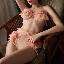 화이트 핑크 섹시 란제리 브래지어와 팬티 세트 멜빵 레이스 원근법 꽃 손질 가장자리 매력적인 여자 브래지어 세트
