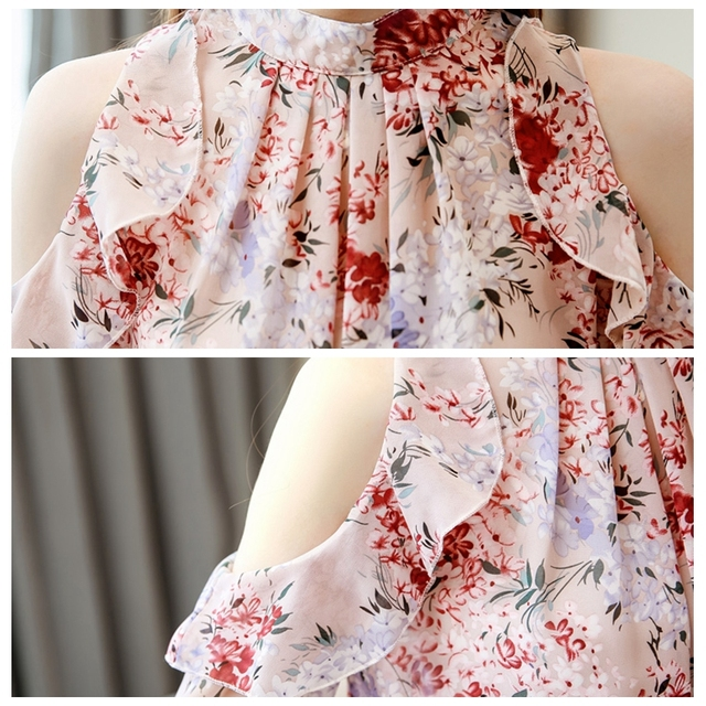 Korean Blouse Women Clothing Shirt Ladies Tops Floral Chiffon Ruffles Stand Butterfly Sleeve Blusas Hollow Female Tops Plus Szie 6