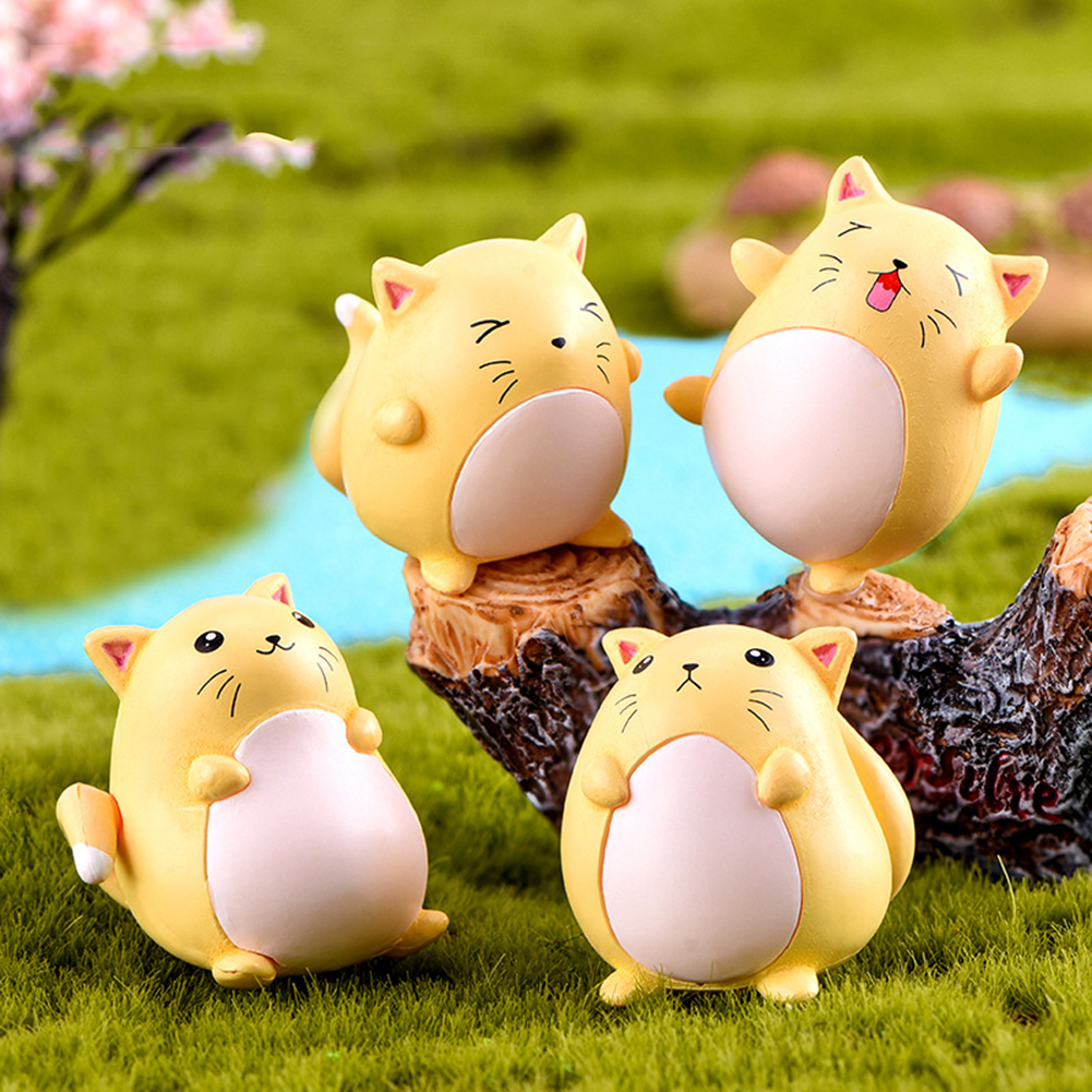 Cute 4Pcs Cartoon Mini Mouse Animal Figurine Art Crafts DIY Bonsai Home Decoration