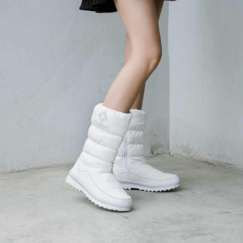 FEDONAS Sıcak Rahat Kadın Flats Platformu Kar Botları Kış Yeni Fermuar Kadın Orta Buzağı Botları Rahat Ofis Temel Ayakkabı kadın