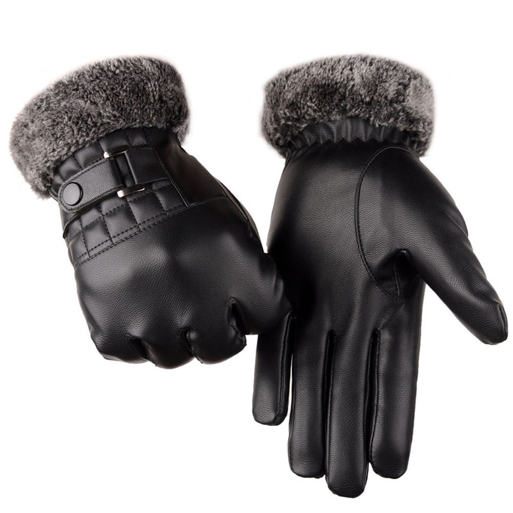Men Leather Touch Screen Gloves with Good Thermal Performance for Winter to Keep Hands Warm Useful for Touch Screen Device Without Exposing Hands 1