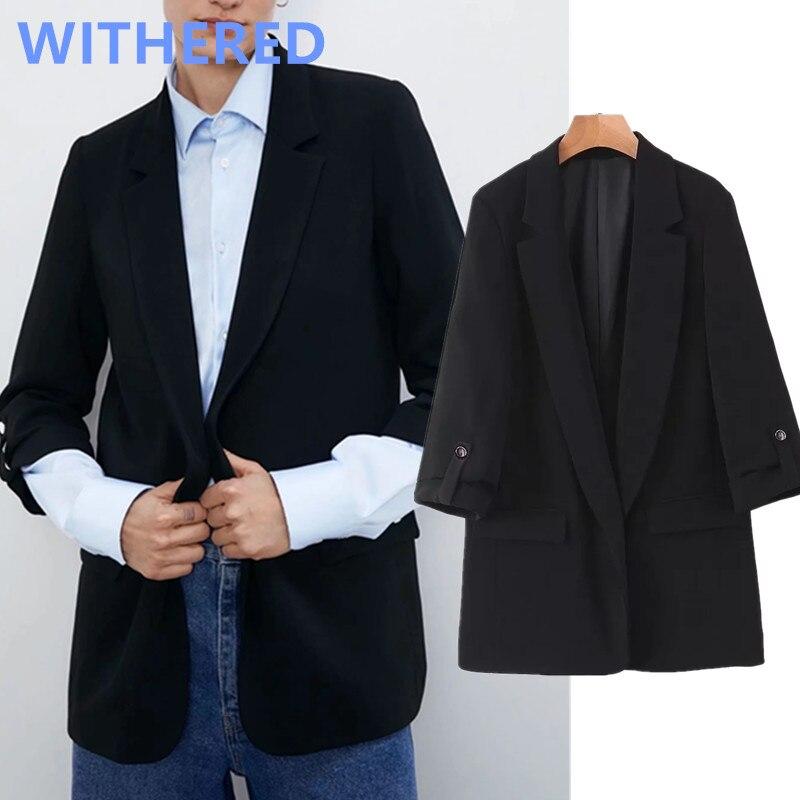Withered Spring England Office Lady Simple Casual Roll Up Sleeve Black Blazer Feminino Blazer Women Blazer Mujer 2020 Jackets