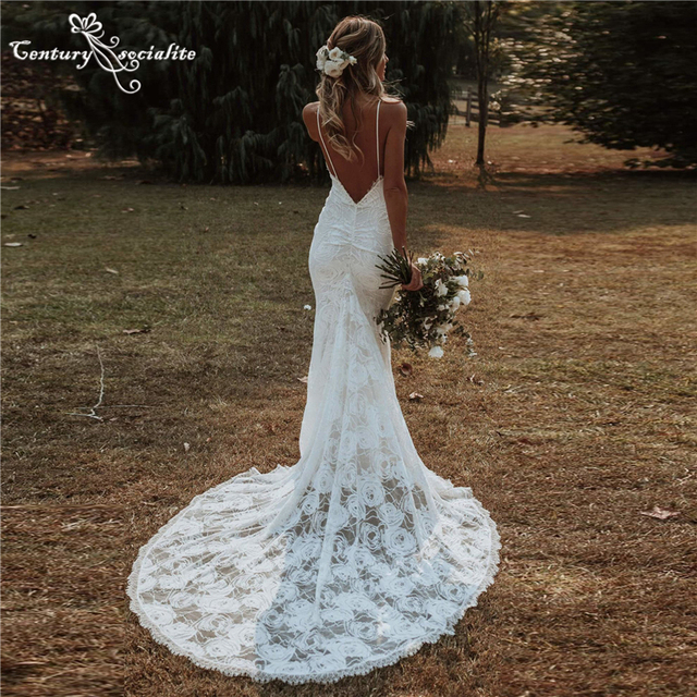 Boho Mermaid Wedding Dresses 2021 Spaghetti Straps Backless Sexy Beach Bride Dresses Bohemian Bridal Gowns Vestido De Noiva 1