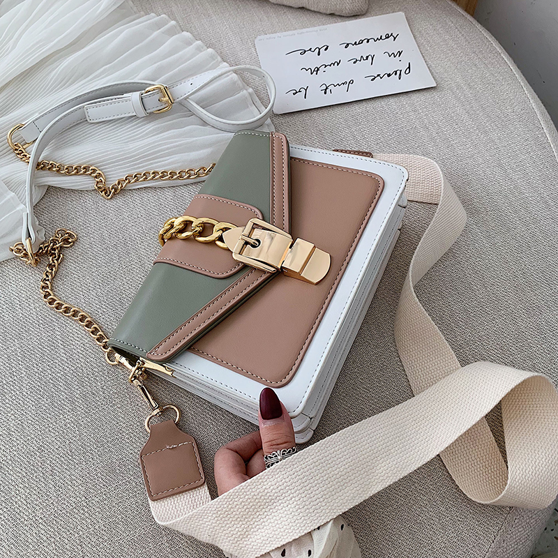 Small Summer Contrast Color PU Leather Crossbody Bags For Women 2020 Chain Shoulder Messenger Handbags Lady Hand Bag