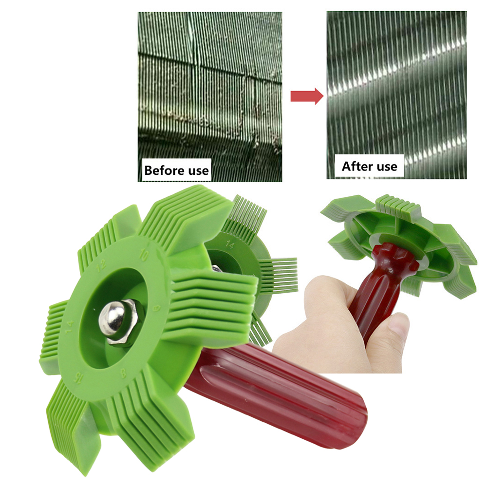 Car A/C Condenser Radiator Evaporator Fin Straightener Coil Comb Plastic Handle Universal Cleaner Tool For Auto Cooling System