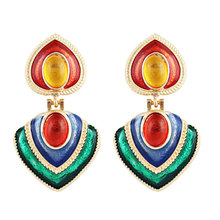Hot Sale Brincos Colorful Enamel Party Geometric Heart Drop Dangle Earrings for Women Fashion Accessories Jewelry Bohemian Gifts colorful enamel geometric star cat drop earrings