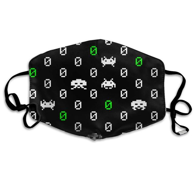 Space Invaders Polka Dots Washable Reusable   Mask, Cotton Anti Dust Half Face Mouth Mask For Kids Teens Men Women With