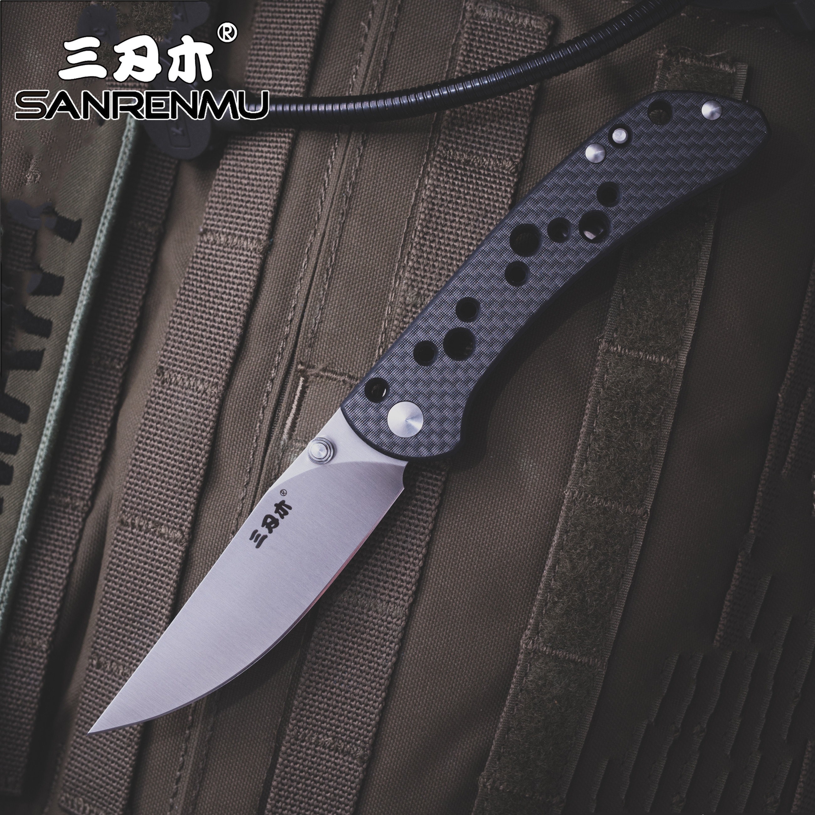 SANRENMU SRM 9165 Pocket Folding Knife 12C27 Steel Rescue Survival Tool Outdoor Camping EDC Mini Tactical  Huinting Knife