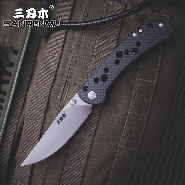 Sanrenmu srm 9165 bolso faca dobrável 12c27 ferramenta de sobrevivência resgate aço ao ar livre acampamento edc mini tático huinting faca