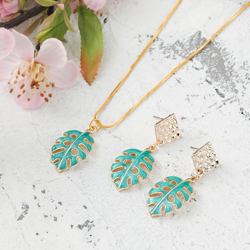 Romantic Lovely Sweet Green Leaf <font><b>Lock</b></font> Pendant <font><b>Earrings</b></font> Necklaces Suit Accessories For Girls Women's Anniversary Christmas Gifts image