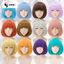 DIANQI 14 inch synthetic short bob straight wigs with bang blue golden red black white purple pink brown female cosplay wig hair adiors short silky straight inclined bang synthetic wig