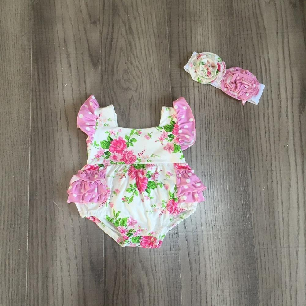 Baby Clothes Baby Floral Romper Infant Bay Romper With Headband