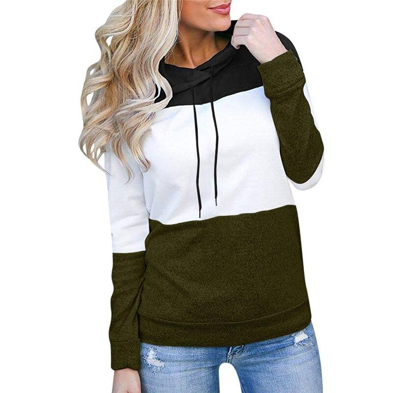 Women Hoodie Korean Ladies Sweatshirt Clothes Women's Fashion Loose Casual Pullover Long Sleeve Patchwork Top Sweatshirt