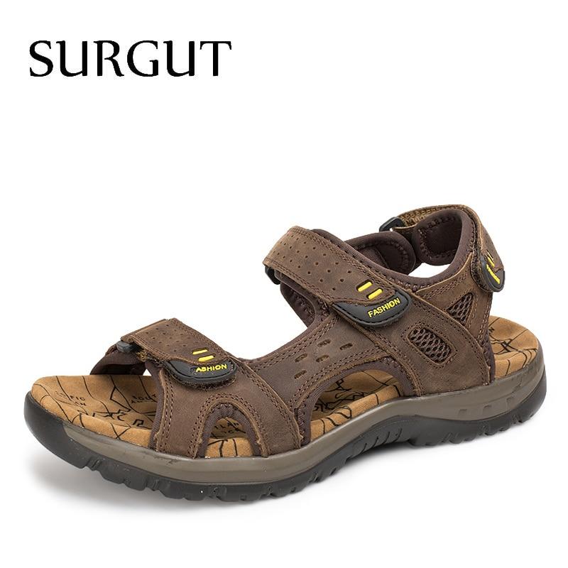 SURGUT 2020 New Men Sandals Summer Leisure Outdoor Beach Men Casual Shoes High Quality Genuine Leather Sandals  Men's Sandals