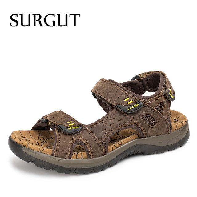 SURGUT 2021 New Men Sandals Summer Leisure Outdoor Beach Men Casual Shoes High Quality Genuine Leather Sandals  Mens Sandals