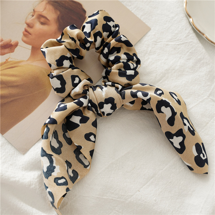 H753494196e1d40298fca77275b0c4178m - Fashion Feamle Bow Knotted Hair Rope Long Streamer Scrunchies Vintage Leopard Girls Hairband Hair Scarf Hair Accessories