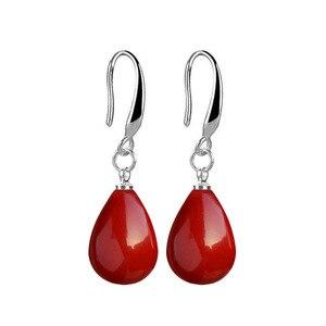 Новые Красные жемчужные серьги с подвеской, длинные серьги с искусственным жемчугом, прозрачные серьги с опалом, это романтический подарок ...