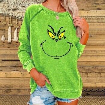 2020 Grinch Sweatshirt for Womens Grinch Stole Christmas  Long Sleeve Green Raglan Sweatshirt Crew Neck Graffiti Pullover Tops letter print crew neck long sleeve pullover sweatshirt for men