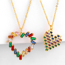 High Quality Multicolor Heart Shape Necklace 100% 925 Sterling Gold Chain Color Pendant for Women Lady Stylish Zircon Jewelry a suit of stylish solid color heart shape letter carving pendant necklace for women