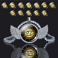 Блестящий Кристалл Крылья 12 Созвездие твердый кулон ожерелье