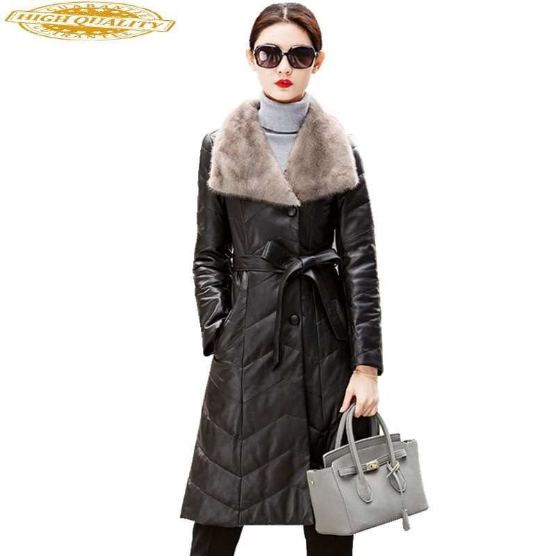 2020 Genuine Leather Jacket Winter Coat Women Natural Sheepskin Coat Real Fur Collar Long Women's Down Jackets WYQ862