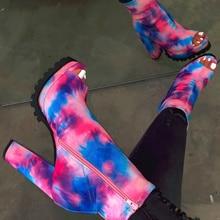 Women Zip Peep Toe Leopard Ankle Boots Spring New Ladies Snake Pattern Platform